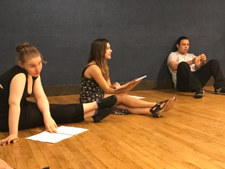 Anie Delgado (Odette) at the first read through.