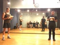 Michael Gene Jacobs (Prince Siegfried) and Trevor van Uden (Franz) rehearse.
