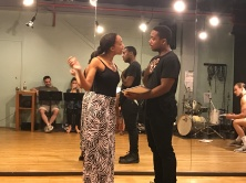 Erica Moore (Queen) and Michael Gene Jacobs (Prince Siegfried) rehearse.